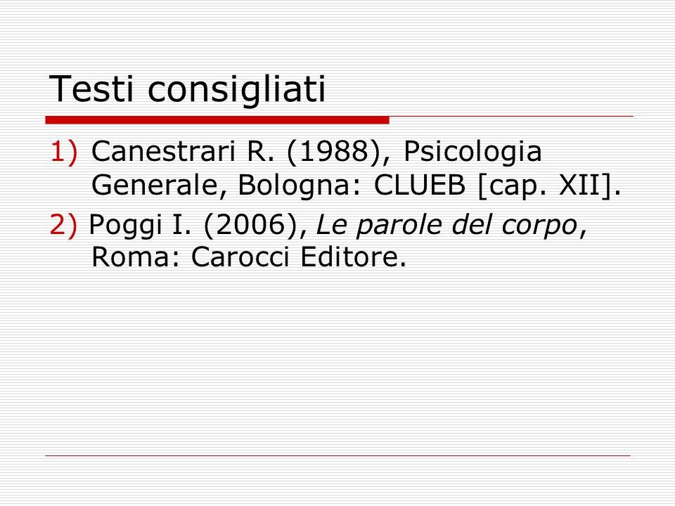 Testi consigliati Canestrari R. (1988), Psicologia Generale, Bologna: CLUEB [cap. XII].